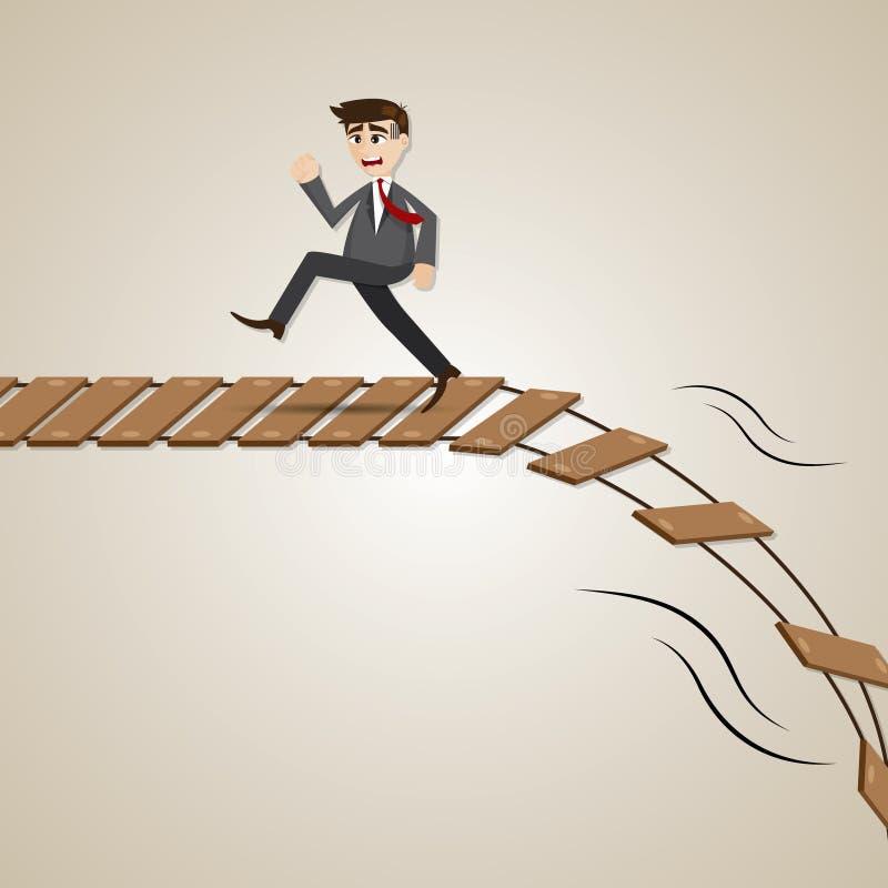 Cartoon businessman run away from broken rope bridge vector illustration