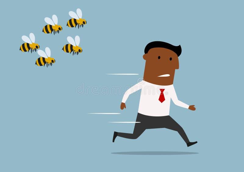 Cartoon businessman running away from bees stock illustration