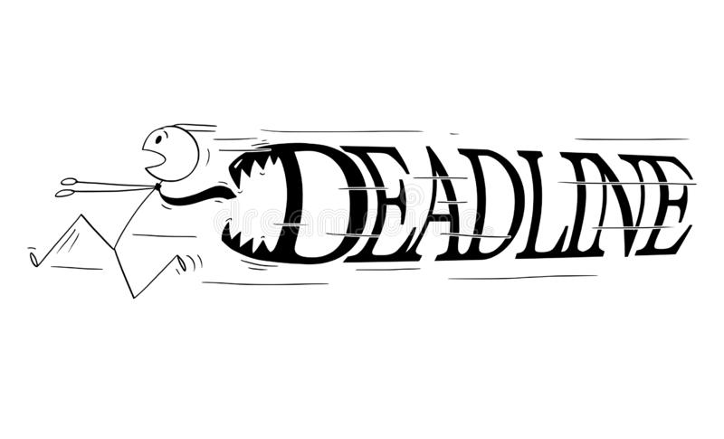 Cartoon of Businessman Running in Panic From Big Deadline Letters With Teeth Chasing Him stock illustration
