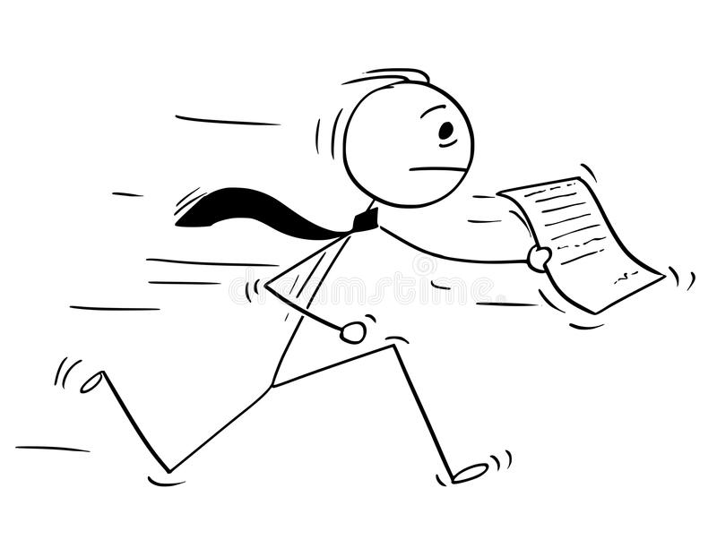 Cartoon of Businessman Running with Piece of Paper or Document. Cartoon stick man drawing conceptual illustration of businessman running with document or piece stock illustration
