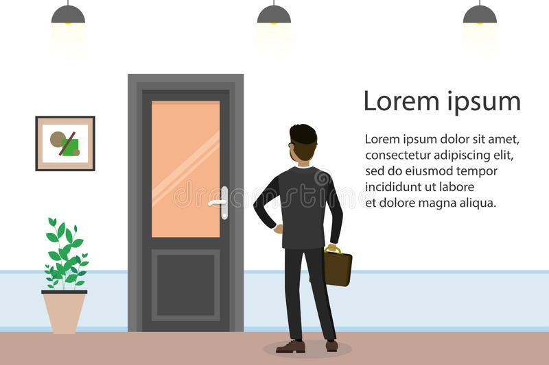Cartoon businessman searching for job, interview candidate. Door in office room,rear view man,flat vector illustration stock illustration