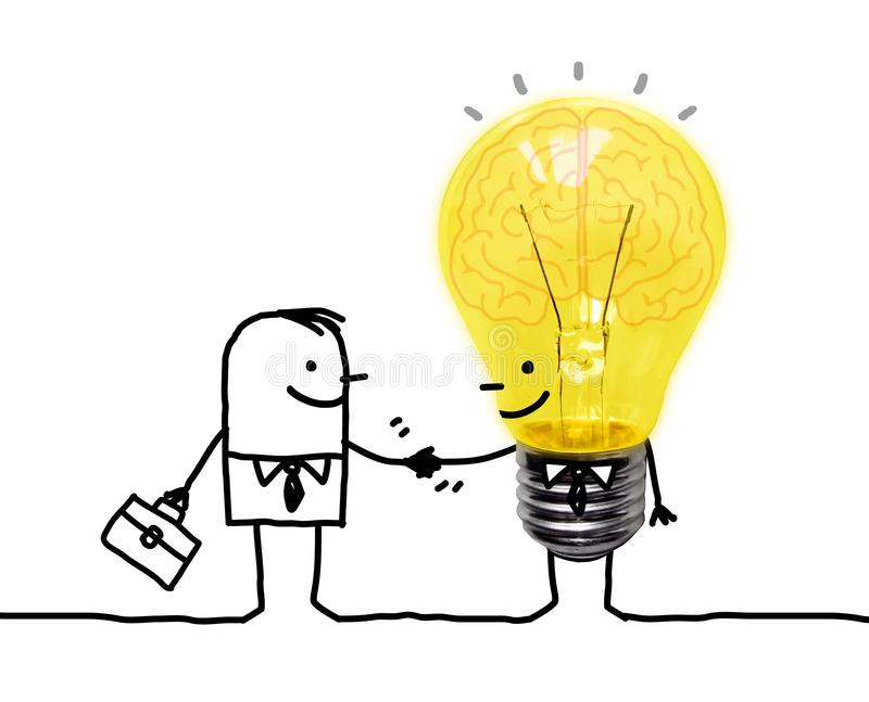 Cartoon Businessman Shaking Hands with Funny Light Bulb character royalty free illustration
