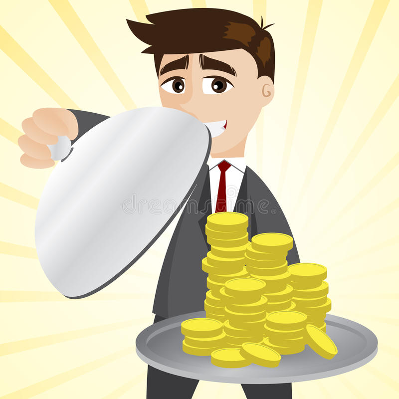 Cartoon businessman showing gold coin in tray vector illustration
