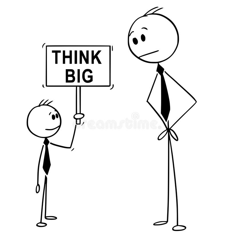 Cartoon of Businessman and Small Business Boy Holding Think Big Sign stock illustration