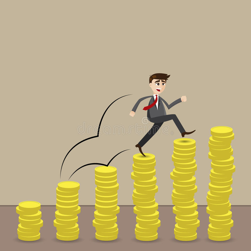 Cartoon businessman step on stack of coin. Illustration of cartoon businessman step on stack of coin in investment progress concept vector illustration