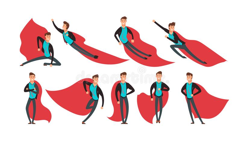 Cartoon businessman superhero in actions and different poses vector set royalty free illustration