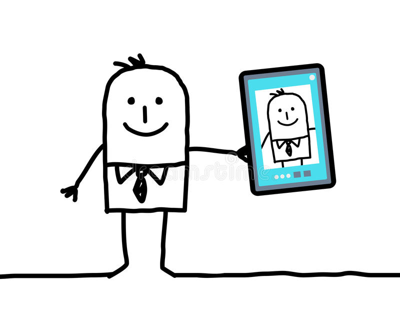 Cartoon businessman taking a picture of himself. Vector vector illustration