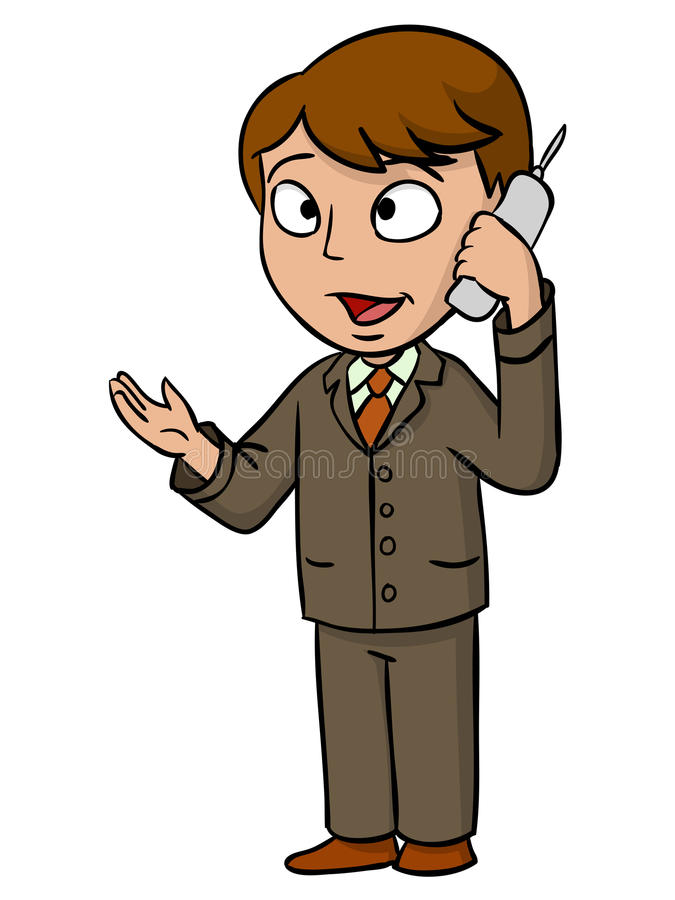 Cartoon businessman talking with cell phone. Vector illustration stock illustration