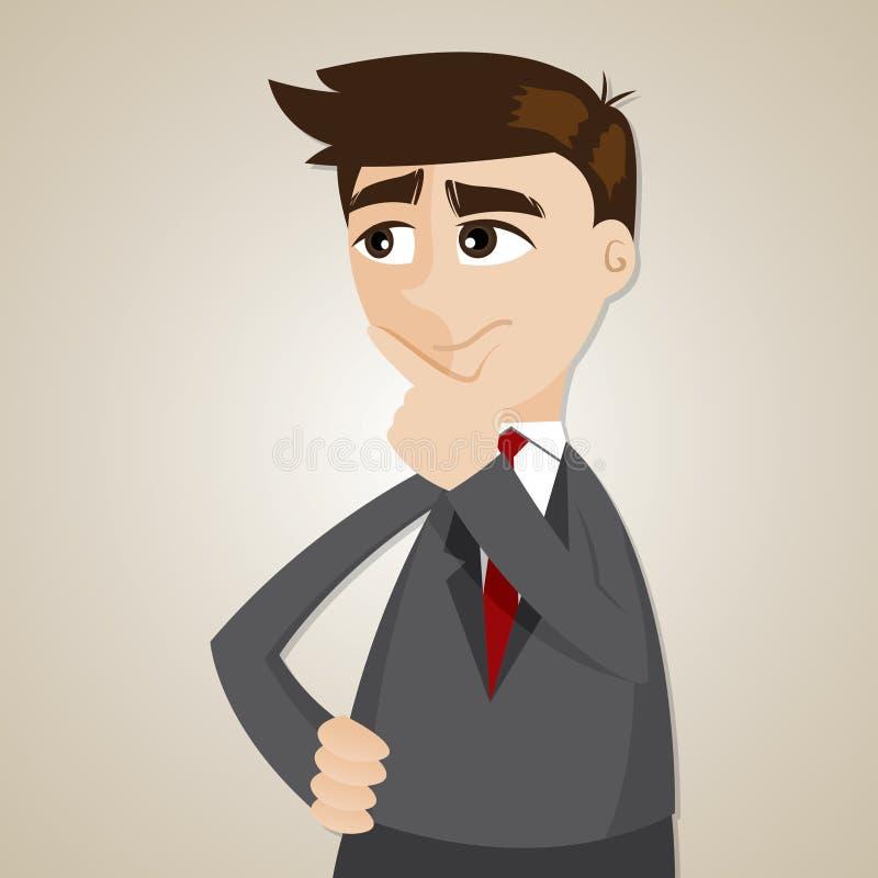 Cartoon businessman thinking. Illustration of cartoon businessman thinking in problem concept stock illustration
