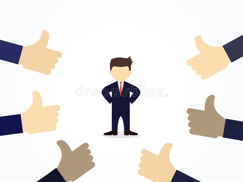 Cartoon businessman with thumbs up hand around. Vector illustration for business design and infographic stock illustration