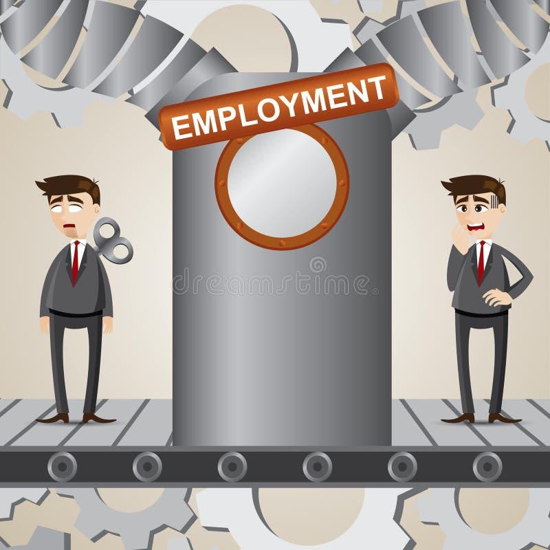 Cartoon businessman transform into robot employee stock illustration