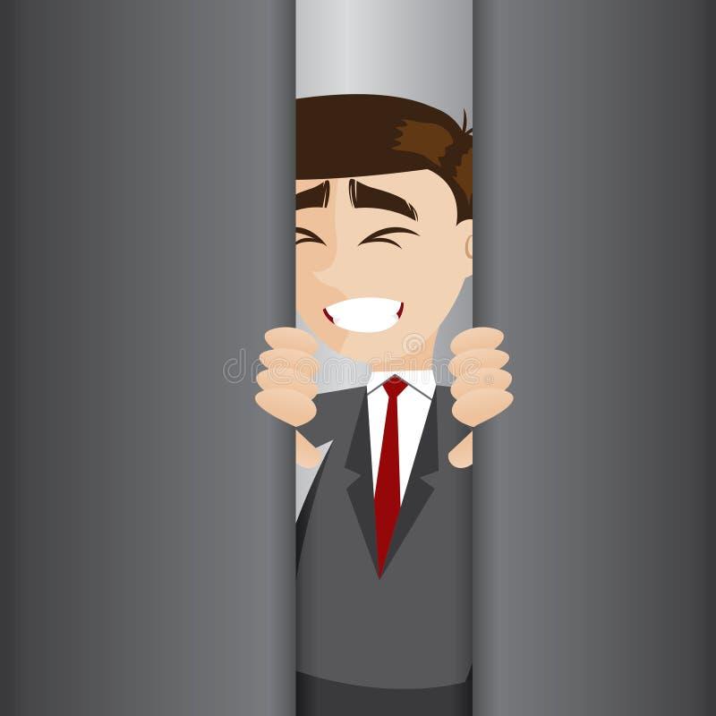 Cartoon businessman tried to open elevator door stock