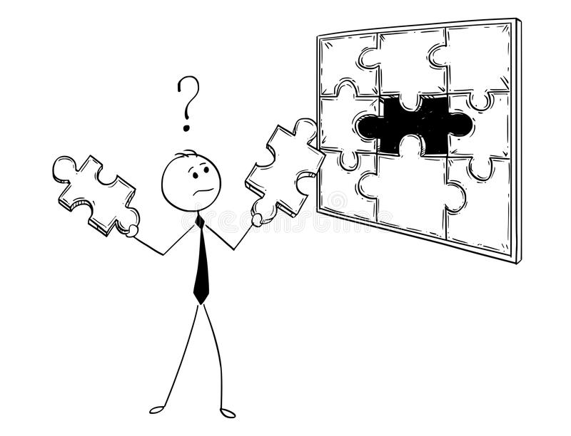 Cartoon of Businessman with Two Jigsaw Puzzle Pieces in Hands to Decide. Cartoon stick man drawing conceptual illustration of businessman with two jigsaw puzzle stock illustration