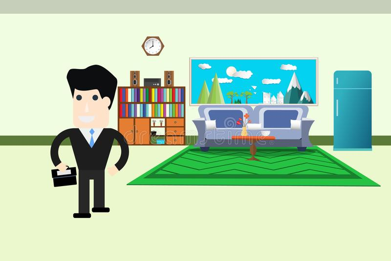 Cartoon businessman walk living room interior go to working Concept. flat design vector illustration royalty free illustration