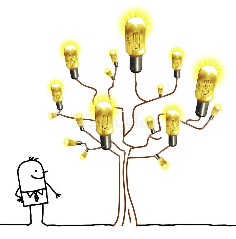 Cartoon Businessman Watching a Light Bulb Tree stock illustration