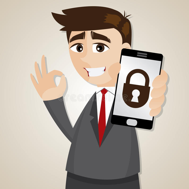 Free Cartoon Businessman With Locking Smartphone Royalty Free Stock Images - 40627219