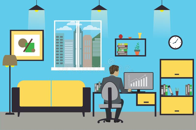 Cartoon businessman working at home or modern office stock illustration