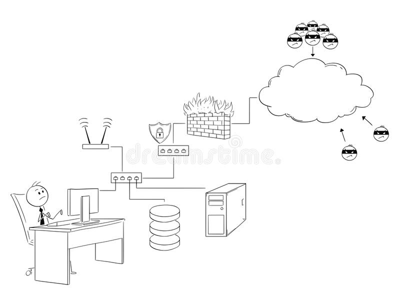 Cartoon of Businessman Working on Secured Internet and Local Area Network or LAN. Cartoon stick man drawing conceptual illustration of businessman working on royalty free illustration
