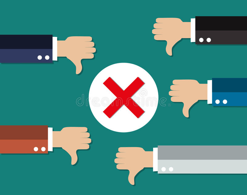 Cartoon Businessmans hands hold thumbs down. royalty free illustration