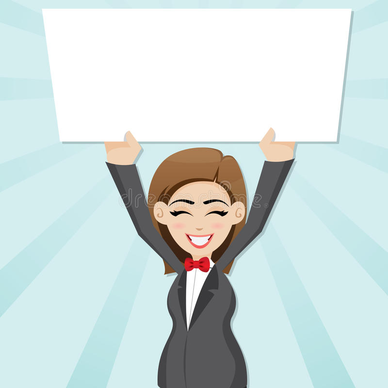 Cartoon businesswoman with blank board stock illustration