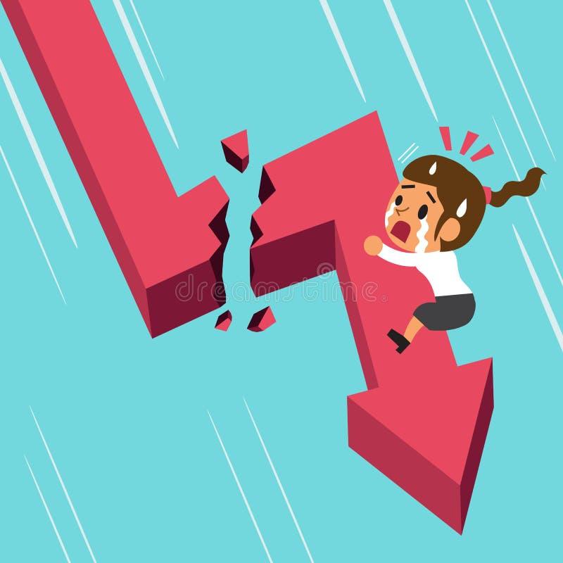 Cartoon businesswoman with broken red arrow royalty free illustration