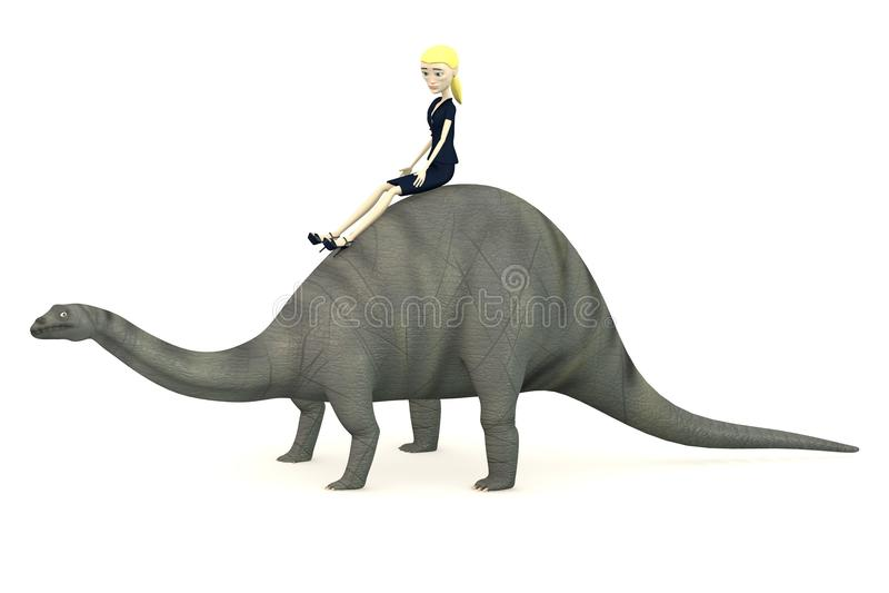 Download Cartoon Businesswoman On Brontosaurus Royalty Free Stock Photos - Image: 29504858