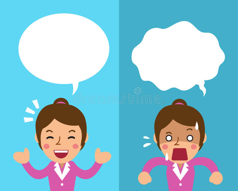 Cartoon businesswoman expressing different emotions with white speech bubbles stock illustration