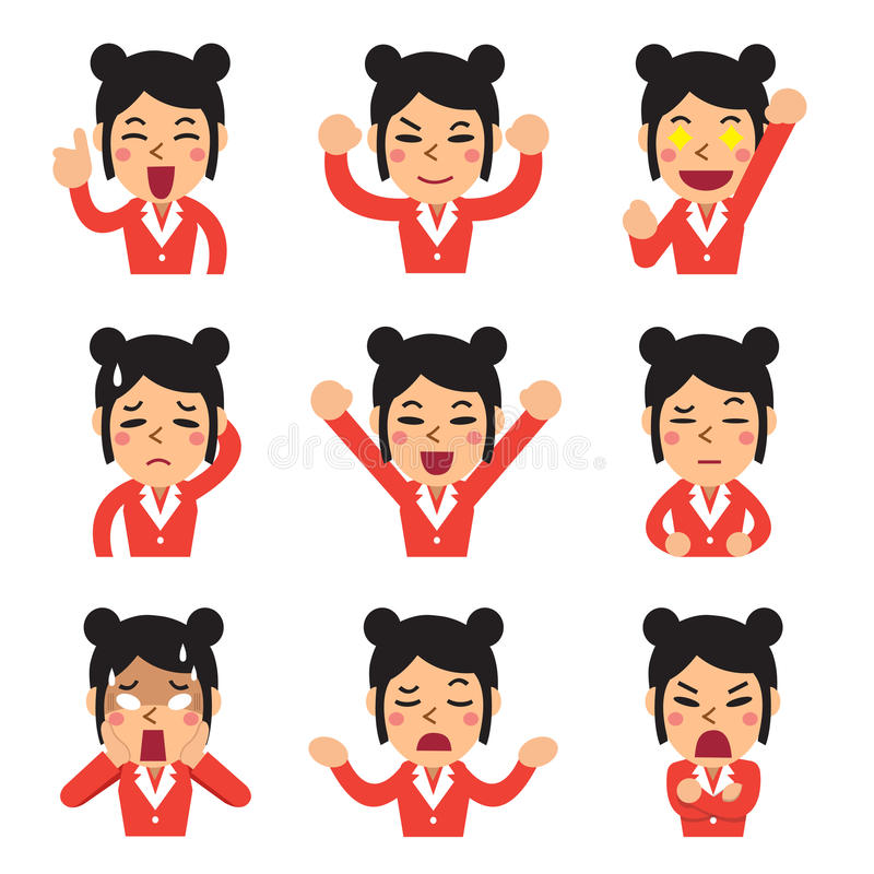 Cartoon businesswoman faces showing different emotions set stock illustration