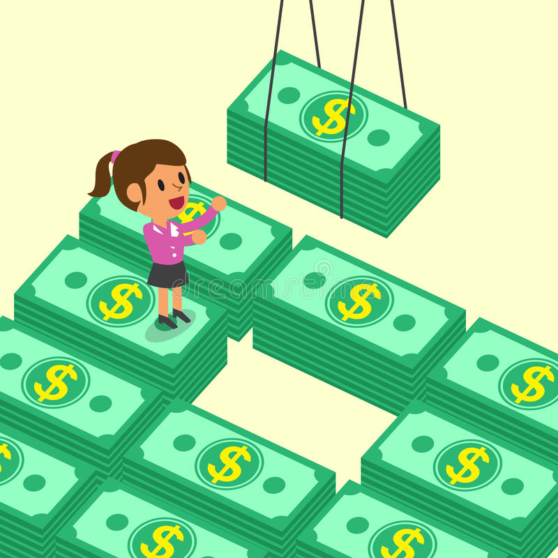 Cartoon businesswoman receiving money stacks vector illustration