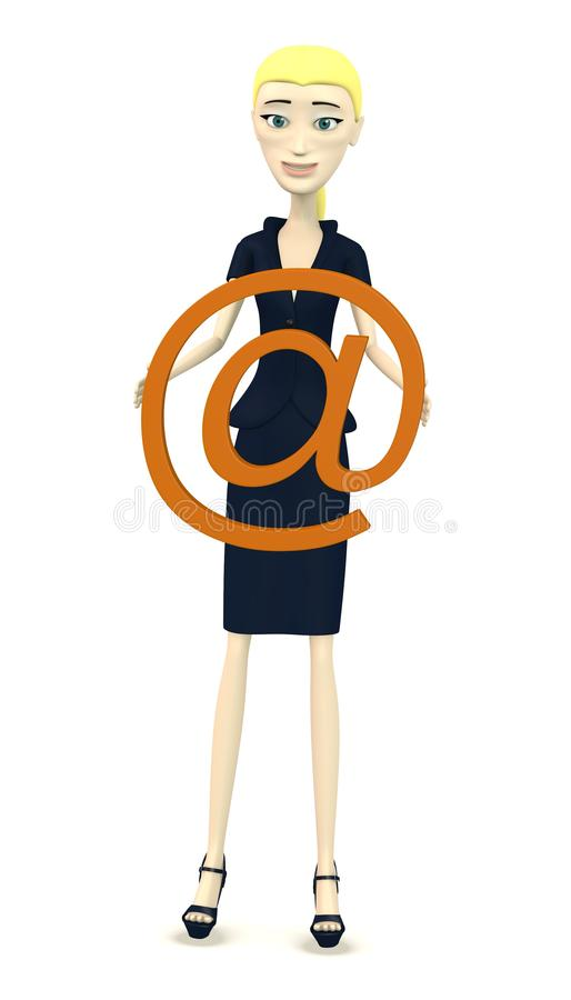 Download Cartoon Businesswoman With At-sign Stock Photography - Image: 30576752