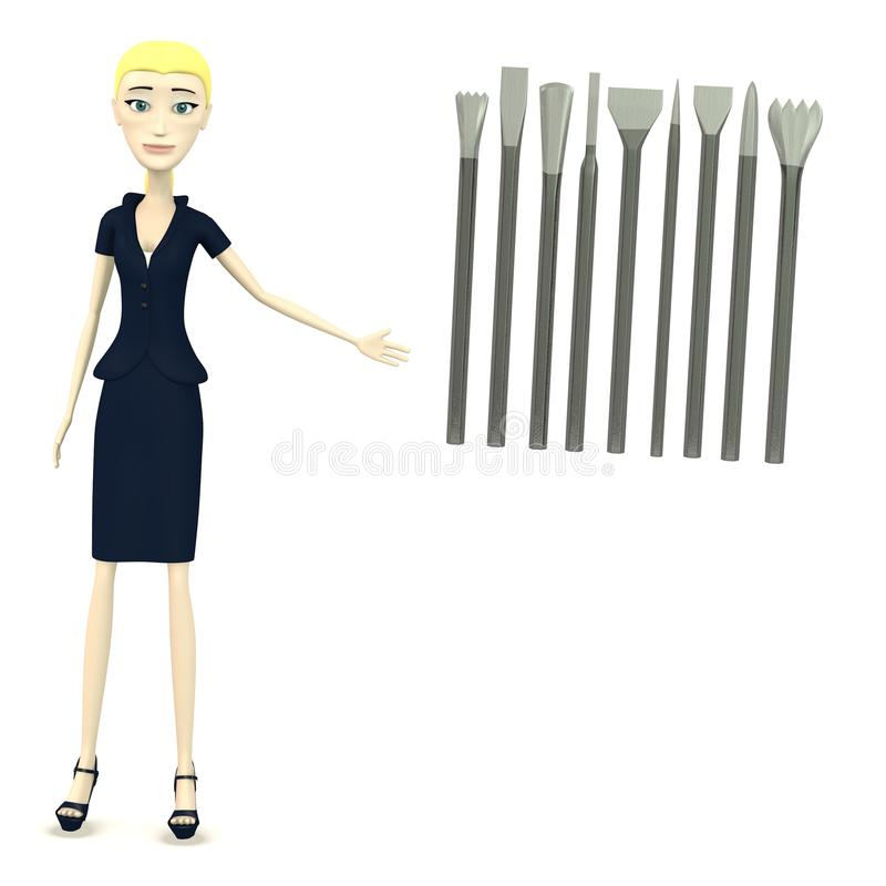 Download Cartoon Businesswoman With Tools For Stonework Stock Illustration - Illustration: 30577244