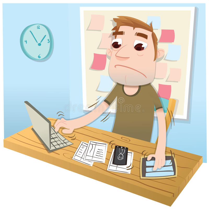 Cartoon busy man. Cartoon man very busy using computer notebook tablet and smart phone stock illustration