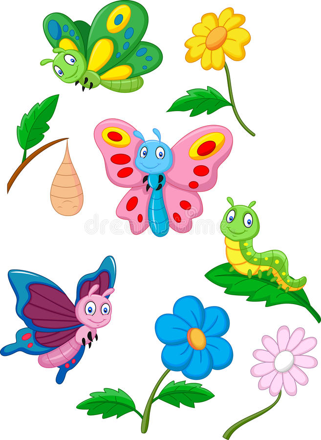 Cartoon butterfly, caterpillar and cocoon royalty free illustration