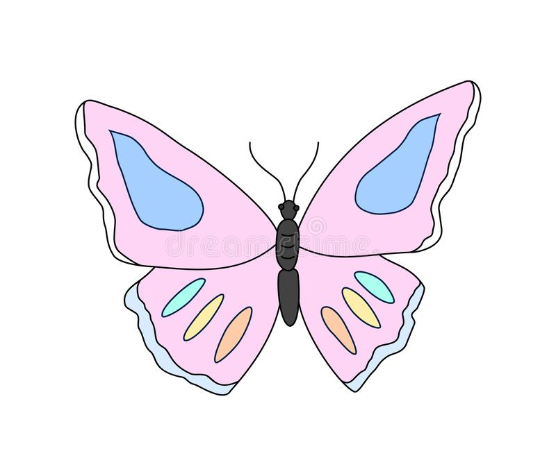 Cartoon butterfly clipart. Vector illustration isolated on white. Background stock illustration