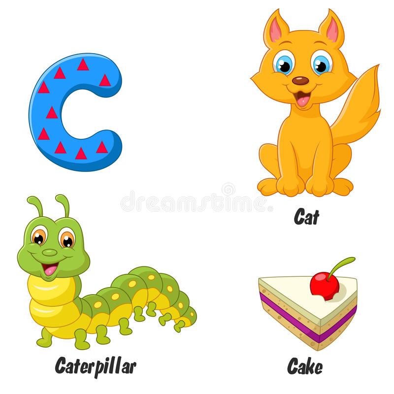 Cartoon C alphabet stock illustration