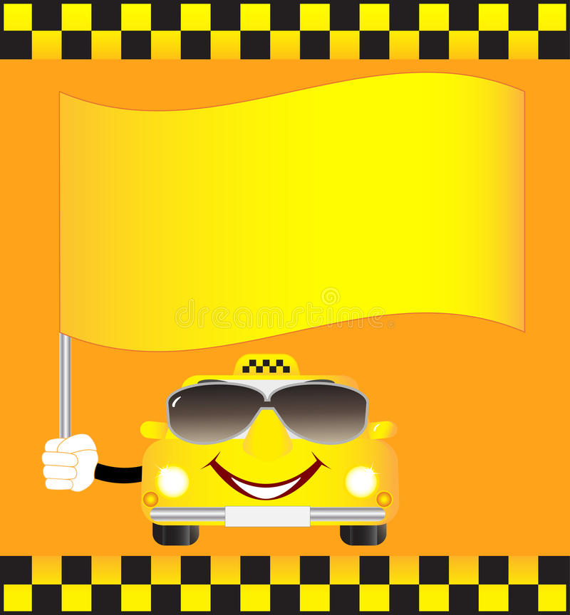 Cartoon cab with banner. Cartoon smiling cab with banner and sunglasses stock illustration