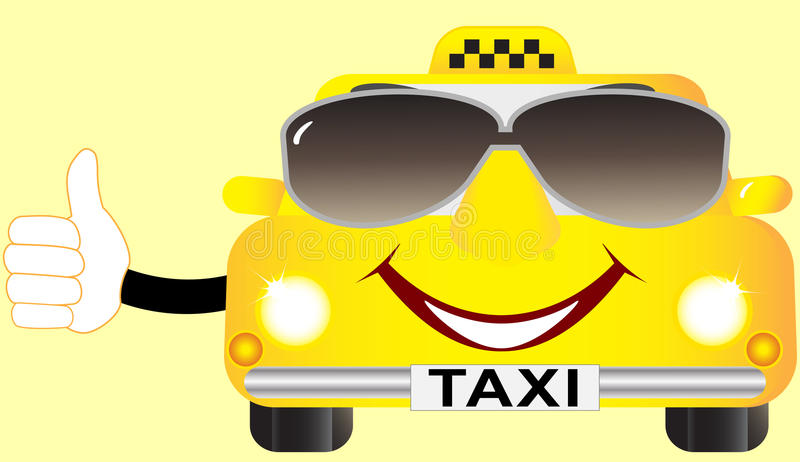 Cartoon cab in sunglasses. Funny cartoon cab in sunglasses and showing thumb up royalty free illustration