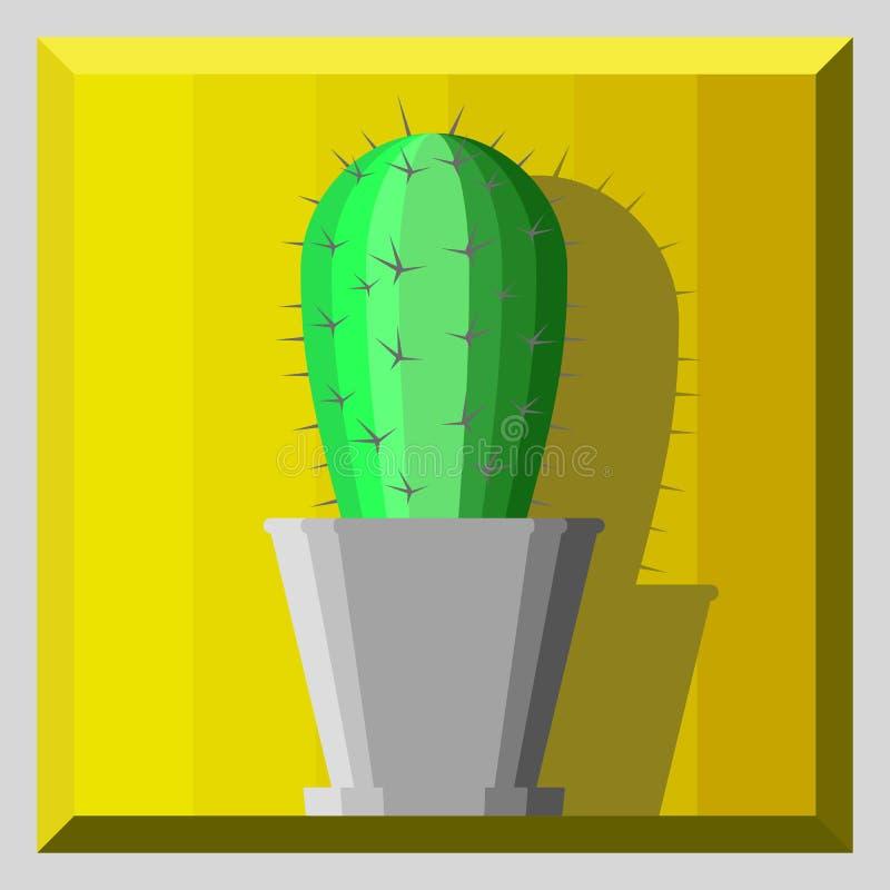 Cartoon cactus in a pot royalty free stock image