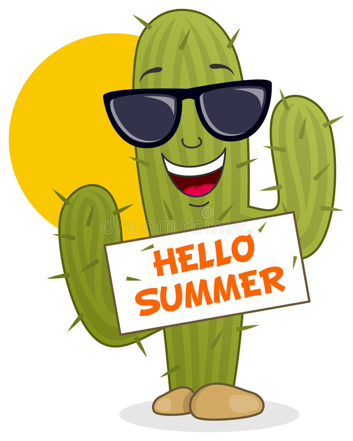 Cartoon Cactus Smiling with Sunglasses royalty free illustration