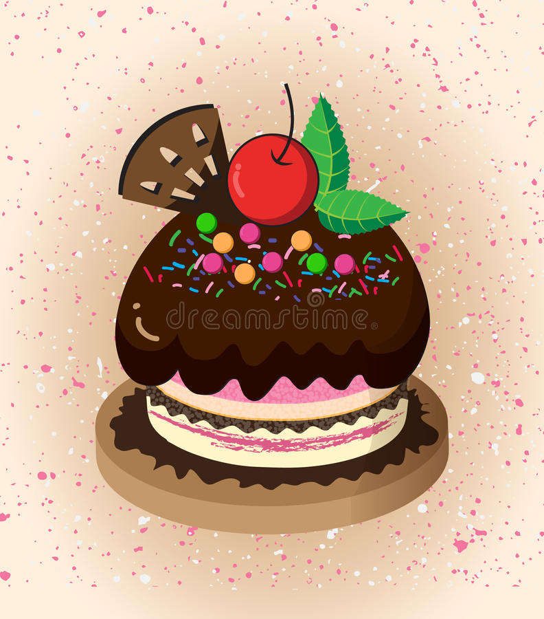 Cartoon cake. A beautiful cake on a white background royalty free illustration