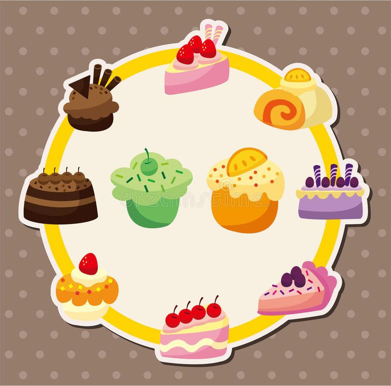 Cartoon cake card vector illustration