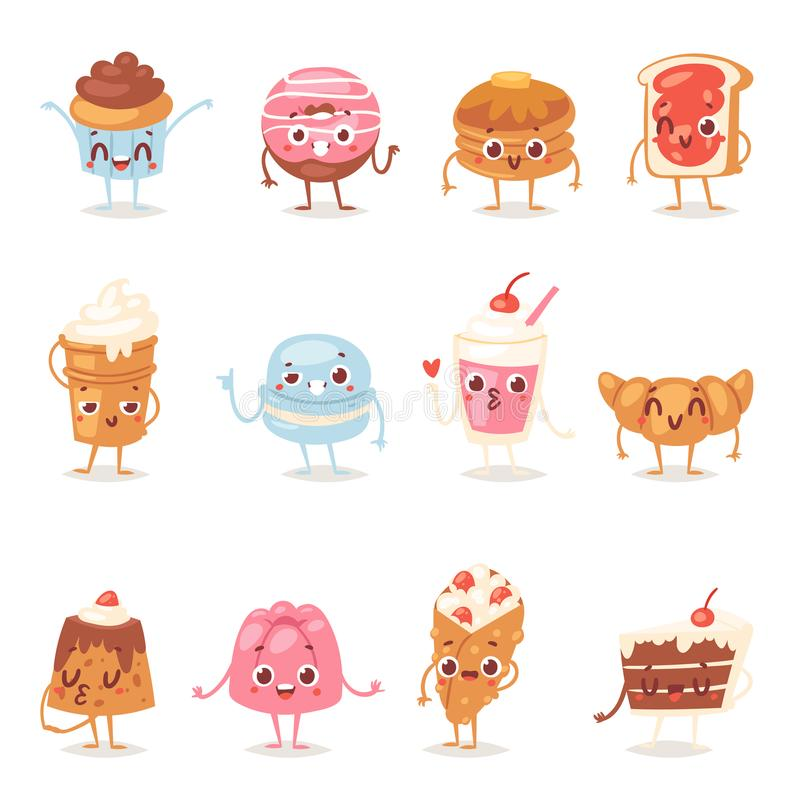 Cartoon cake character vector chocolate sweets confectionery cupcake emotion and sweet confection dessert with caked stock illustration