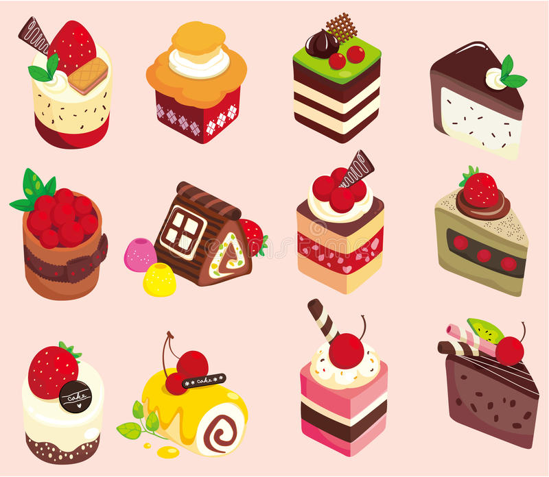 Download Cartoon cake icon stock vector. Image of draw, cherry - 18553140