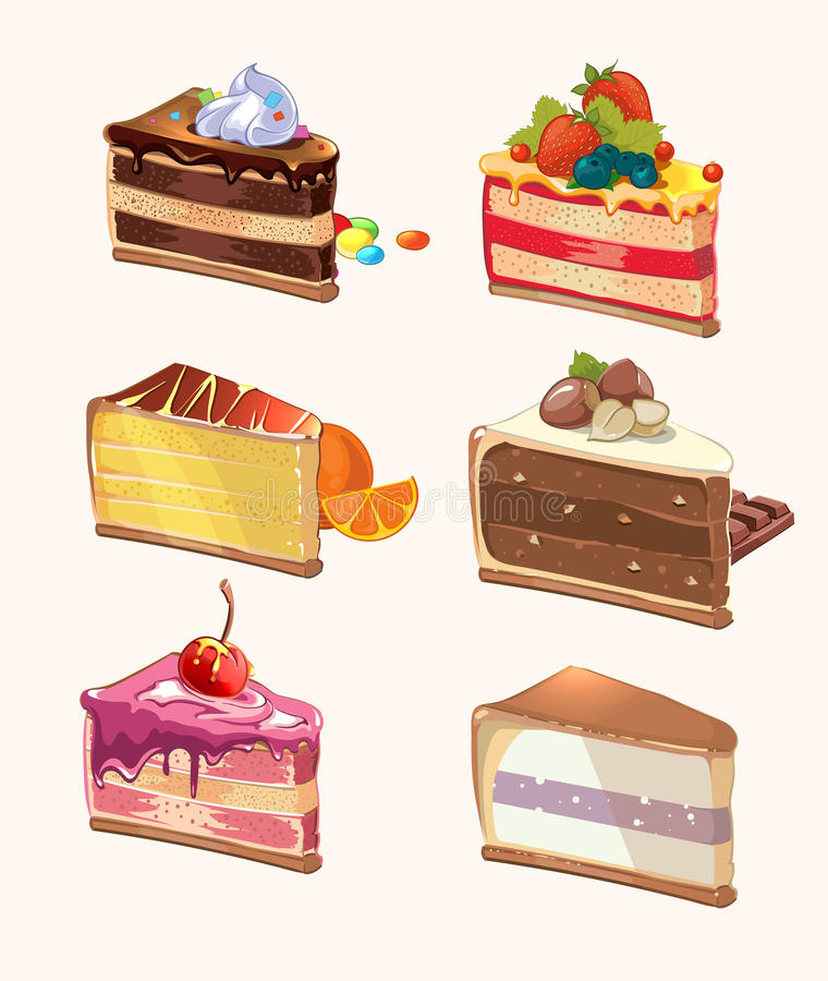 Cartoon cake pieces. Vector illustration stock illustration