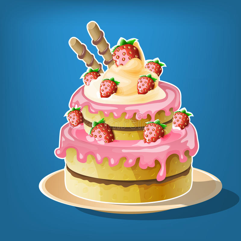 Cartoon cake with strawberry. vector illustration