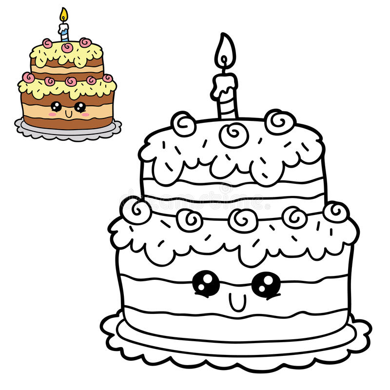 Cartoon cake. Vector illustration coloring page of happy cartoon cake for children, coloring and scrap book stock illustration