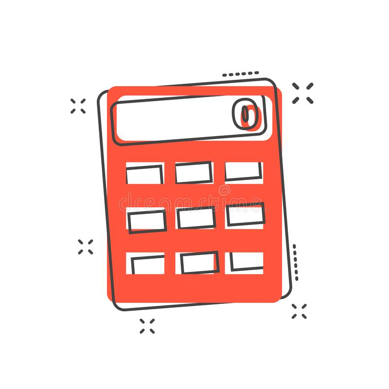 Cartoon calculator icon in comic style. Calculate illustration p. Ictogram. Calculator sign splash business concept stock illustration