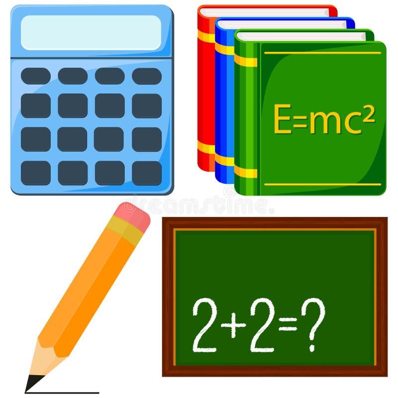 Cartoon calculus and physics study icon set. Calculus and physics study icon set. Colorful cartoon calculator pencil textbook chalk board. Education theme vector stock illustration