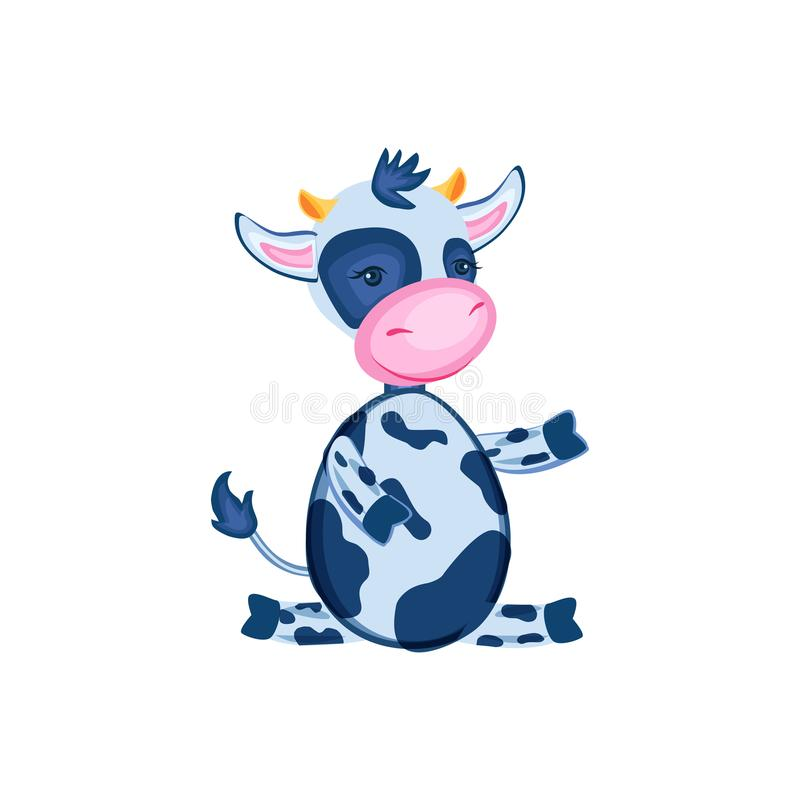 Cartoon calf vector hand drawn kids animal, domestic cute cow sitting isolated on white background, Character design for stock illustration