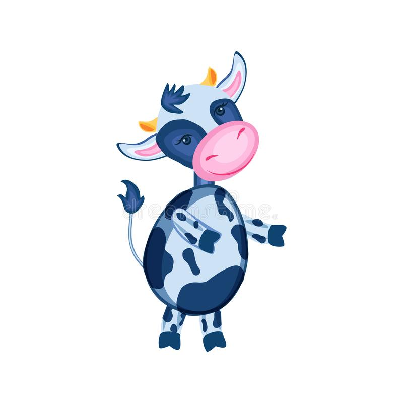 Cartoon calf vector hand drawn kids animal, domestic cute cow standing, isolated on white background, Character design royalty free illustration